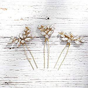 Unicra Bride Wedding Crystal Hair Pins Flower Bridal Hair Pieces Wedding Hair Accessories for Women and Girls Pack of 3 (Gold)