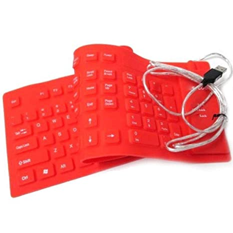 Biaba Collection Wired USB 103 Keys Maxpro USB Silicone Rubber Waterproof Flexible Foldable Wired USB Multi Device Keyboard  Pack of 1   Colors Will B