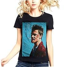 Womens BradPiitt Black Top Short Sleeve Tshirt