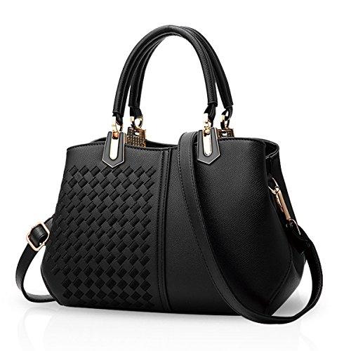 NICOLE&DORIS Women Lady Handbags Shoulder Bag Crossbody Bag Tote Satchel Purse PU Leather Black&White Black a