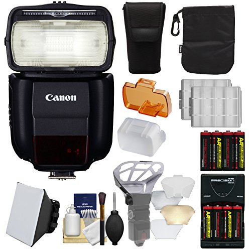 Canon Speedlite 430EX III-RT Flash + Soft Box + Diffuser + Batteries/Charger Kit for Rebel T6, T6i, T7i, T6s, EOS 77D, 80D, 7D, 6D, 5D Mark II III IV, 5Ds R