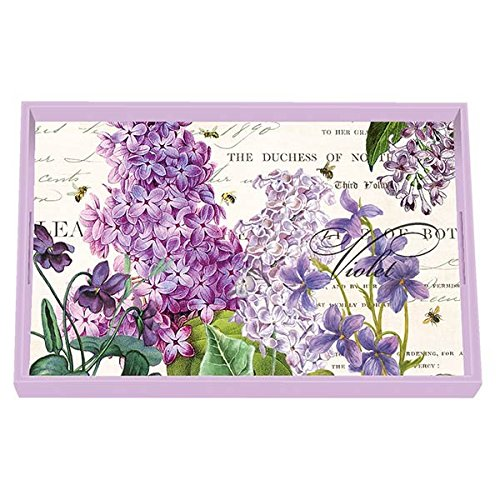 Michel Design Works Wooden Decorative Vanity Tray, Medium, Lilac & Violets