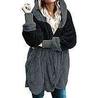 Mokingtop Women's Zip Up Shaggy Oversized Warm Coat with Pockets (Various Color)