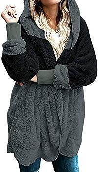 Mokingtop Women's Zip Up Shaggy Oversized Warm Coat