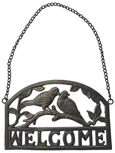 LuLu Decor, Cast Iron Bird Welcome Sign (Antique Gold)