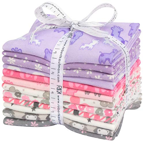 Cozy Cotton Flannel Pink/Purple 12 Fat Quarters Robert Kaufman Fabrics FQ-1530-12