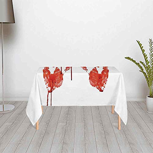 Horror Ultra Soft Satin Tablecloth,Handprint Like Wanting Help Halloween Horror Scary Spooky Flowing Blood Themed Print for Home & Office & Restaurant Table Tea Table,48.03''W x 24.02''H ()