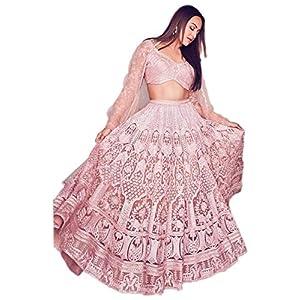 Ethnic Empire Women's Net Semi-Stitched Lehenga Choli (Ethnic_ER13701_Pink_Free Size)