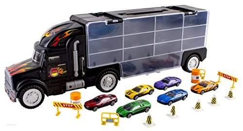 Toy Car Rack : Wolvol transport car carrier truck toy for boys and girls