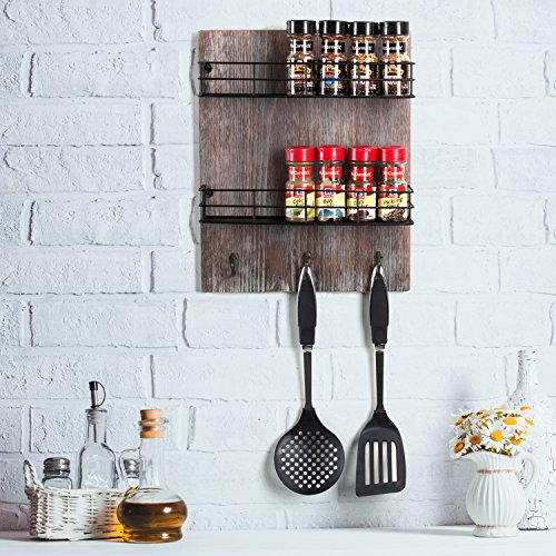 MyGift Wall-Mounted Rustic Torched Wood Spice Rack with 3 Utensil Hooks by MyGift (Image #2)'