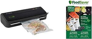 FoodSaver FM2000 Vacuum Sealer Machine with Starter Bags & Rolls   Safety Certified   Black - FM2000-FFP & 8