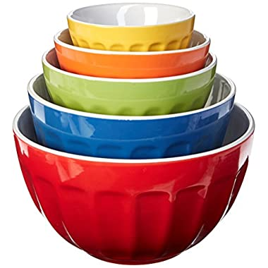 Uniware Heavy Duty Stoneware Mixing Bowls Set of 5, with Color Box, 4.53-Inch + 6-Inch + 7.6-Inch + 9-Inch +10.5-Inch