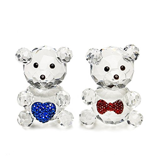 H&D HYALINE & DORA 2pcs Crystal Baby Bear Figurine Collection Animal Paperweight Table Centerpiece