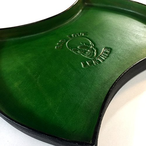 Double Axe Head Shape Leather Valet Tray in Green & Black