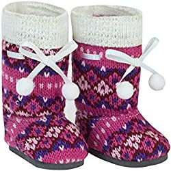18 Inch Doll Shoes, Pink Knit Pom-pom Doll Boots Perfect Fit for your 18 Inch American Girl Dolls & More! Pink Knit Pom-pom Boots