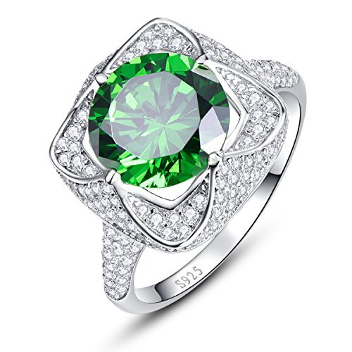 BONLAVIE Womens Solid 925 Sterling Silver Created Green Emerald Birthstone Anniversary Ring Size 9