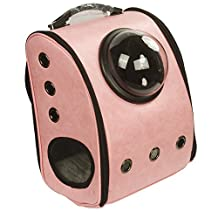 HMHPet Back-Pack Style Pet Carrier for Small Dogs and Cats and other furry friends w/Half Moon Dome Portal & switchable mesh panel (Pink)