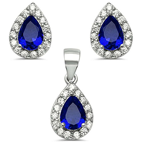 (Oxford Diamond Co Sterling Silver Pear Shape Simulated Blue Sapphire & Cubic Zirconia Earring & Pendant Set)