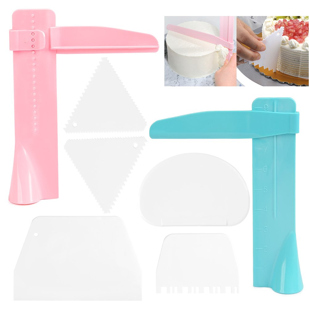 FOCCTS 7Pack Adjustable Cake Scraper Smoother Edge Cutter Decorating Tool for Birthday Wedding Party Cake Icing Frosting