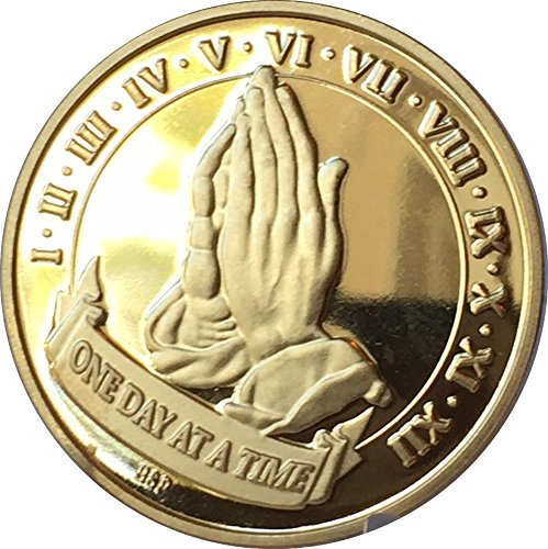 One Day At A Time Praying Hands 22k Gold Plated AA Alcoholics Anonymous Medallion Sobriety Chip Years 1 2 3 4 5 6 7 8 9 10 11 12 Year 1-12 ()
