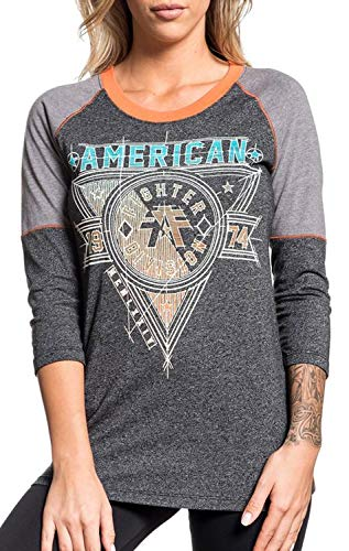 Affliction T-shirt Top - American Fighter Siena Heights 3/4 Sleeve Sport Graphic Fashion Raglan T-Shirt Top by Affliction