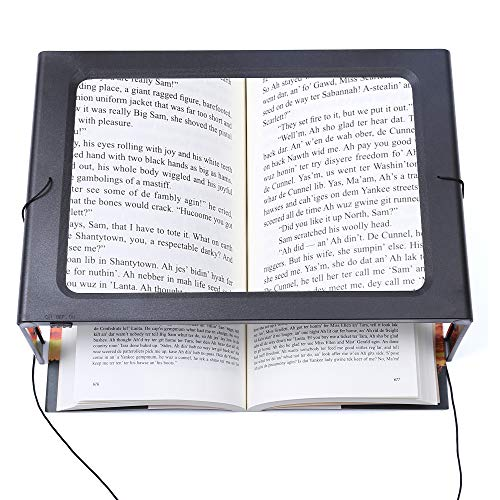 - Hands-Free Magnifying Glass Large Full-Page Rectangular 3X Magnifier LED Lighted Illuminated Foldable Desktop Portable for Elder Kids