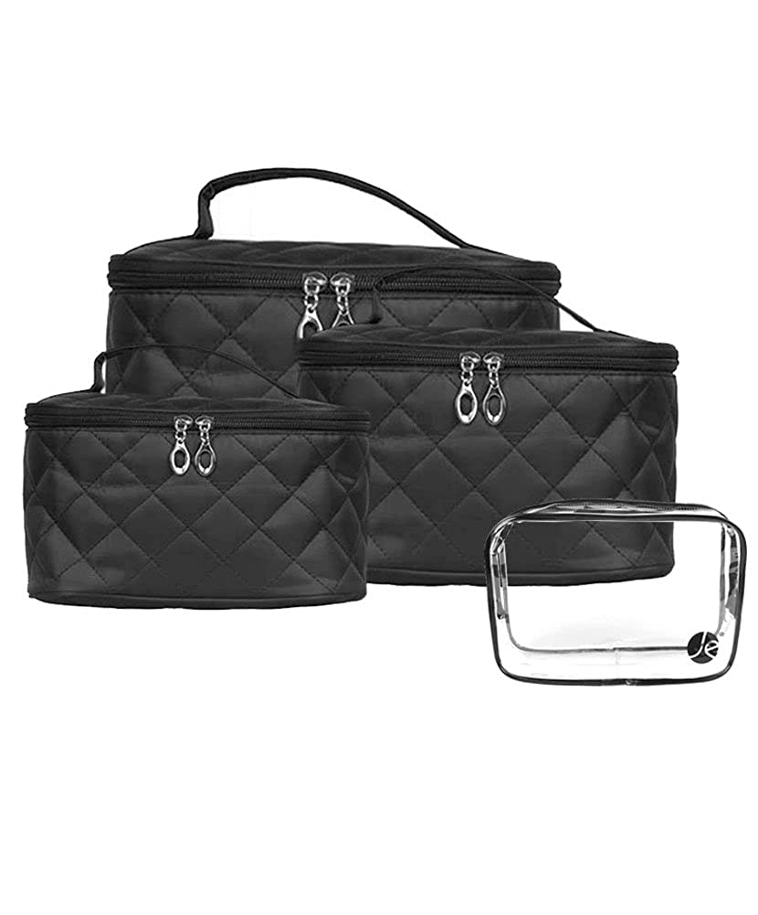 3a7cdc960568 Amazon.com  JAVOedge Quilted Makeup Brush Cosmetic Travel Organizer Bag  w Clear PVC Zipper Bag (4 PCS Set  XSM