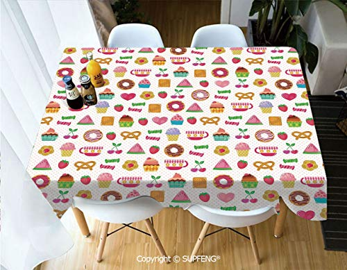Deco Collection Buffet Displays - Vinyl tablecloth Sweets Candies Cookies Fruit and Other Cute Things Festive Cheerful Collection Decorative (60 X 120 inch) Great for Buffet Table, Parties, Holiday Dinner, Wedding & More.Desktop deco