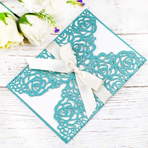 - PONATIA 25 PCS 5.12 x 7.1'' 250GSM Laser Cut Hollow Rose Wedding Invitations Cards with Ivory Ribbons for Bridal Shower Engagement Birthday Graduation Invitation (Aqua Blue)