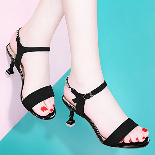 Heels Black Dress Heels Party Shoes Court Pump Sandals Ankle High Pumps Strap HUAIHAIZ Platform High women'S UxFnff