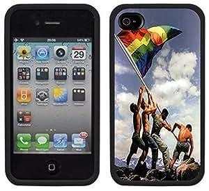Gay Pride Rainbow Flag Handmade iPhone 4 4S Black Case