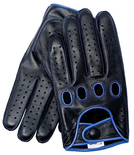 Riparo Genuine Leather Reverse Stitched Full-Finger Driving Gloves (Large, Black/Blue Thread)