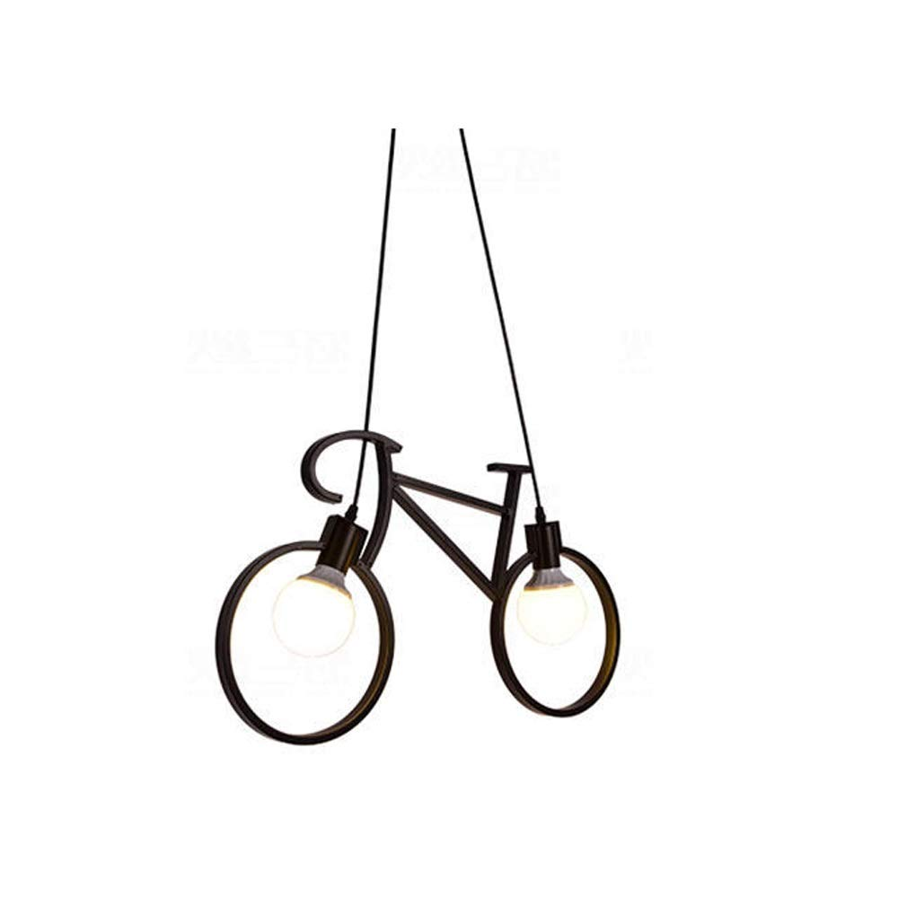Qyyru Industrial Wrought Iron Bicycle Industrial Dining Room Pendant Light/Retro Creative Dining Table Chandelier/Ceiling Lamp Concrete Grey With Steel/Nickel Matt/Satin - Round E27-E26 Max Indoor Lig