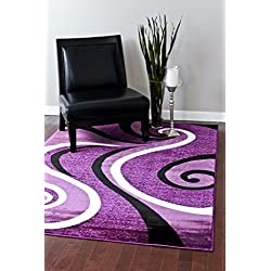 Persian Area Rugs 0327 Purple Black White 5'2x7'2 Area Rug Abstract Carpet