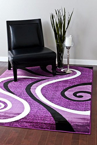 (0327 Purple Black White 5'2x7'2 Area Rug Abstract)