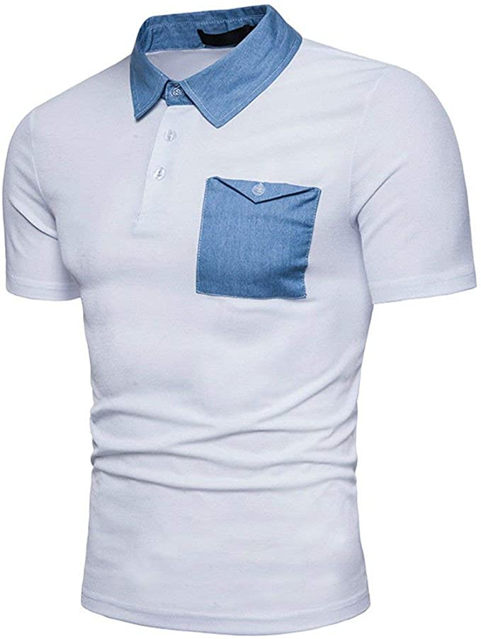 Polo Camisa Hombre Verano Sport Denim Block Color Unico Polo De ...