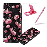 Rubber Case for Samsung Galaxy S8 Plus,Black TPU Case for Samsung Galaxy S8 Plus,Herzzer Pretty Pink Flower Design Diamond Frame Bumer Dust Resistant Soft Flexible TPU Bling Glitter Protective Case for Samsung Galaxy S8 Plus + 1 x Free Pink Cellphone Kickstand + 1 x Free Pink Stylus Pen