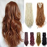 FUT Curly 18 Clips in 8 PCS Double Weft Synthetic Hair Pieces Extensions Full Head 24inch 175g for Girl Lady Women Light Auburn