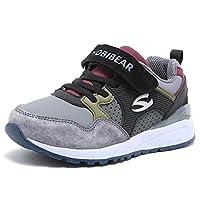 HOBIBEAR Kids Athletic Running Shoes Strap Sport Sneakers Lightweight Grey