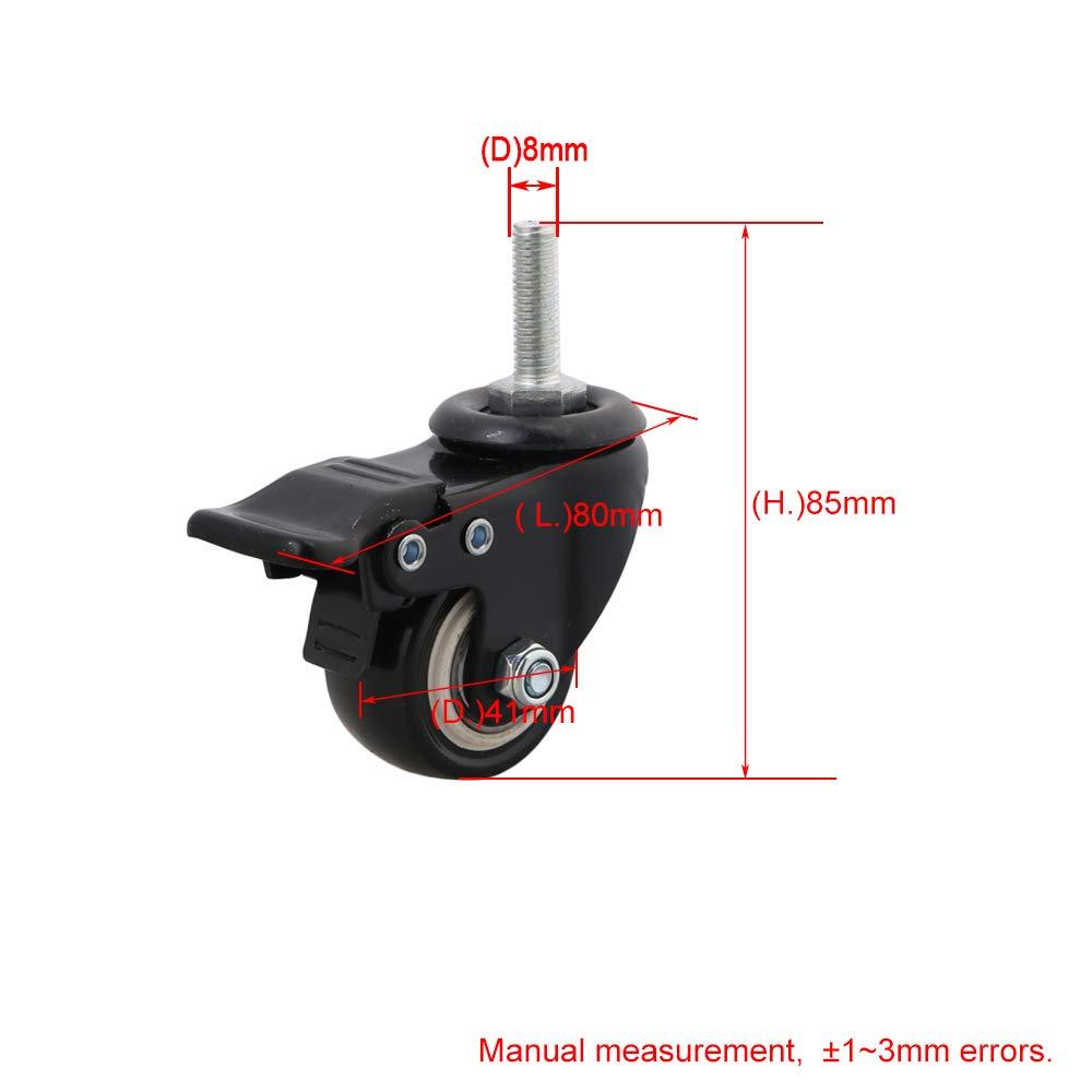 BQLZR 4,1 cm Diam/ètre fer Noir PU Top plaque pivotante Roulette Filetage M8 Tige avec frein pour marchandises /étag/ère de stockage de meubles Lot de 4