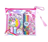 Hot Focus Coloring Journal Set – Rainbow Unicorn Coloring Book, Pencil Case, Erasable Colored Pencils, Sticky Notepads, Stickers and Washi Tape For Kids