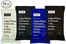 RxBar Protein Bar 12 Pack - Minimal Ingredients That Are All 100% Real Food w/ No Processed Fillers (Variety 2)