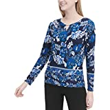Calvin Klein Womens Floral Print Pullover Blouse, Blue, Small