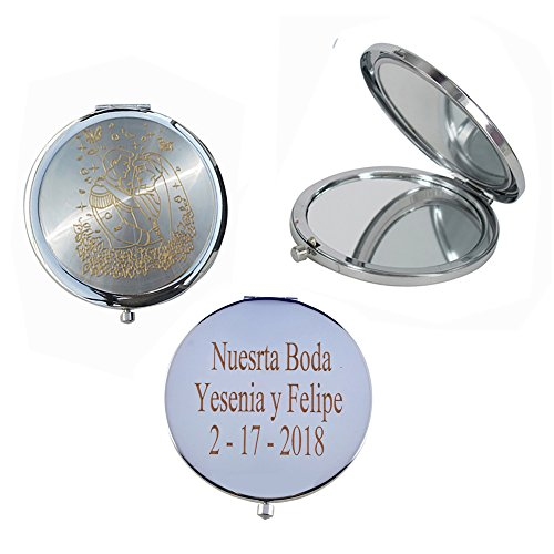 Bridal Shower (12 PCS) Personalized Custom Laser Engraving Engagement Favors, Wedding Ideas compact Mirror (Silver) by WE
