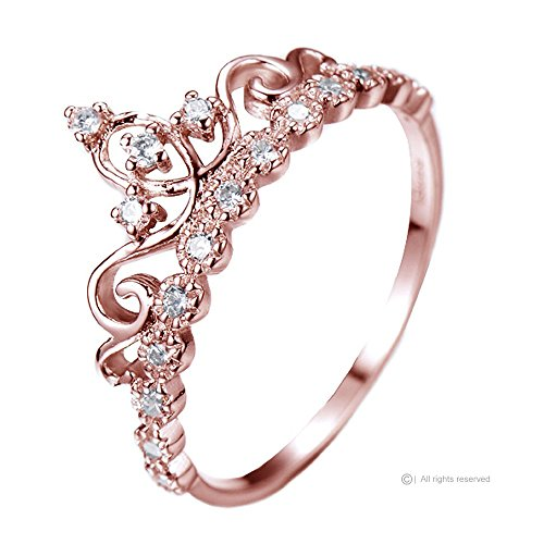 Gold Plated Crown (Guliette Verona Dainty Sterling Silver Princess Crown Ring (Rose Gold Plated) (5))