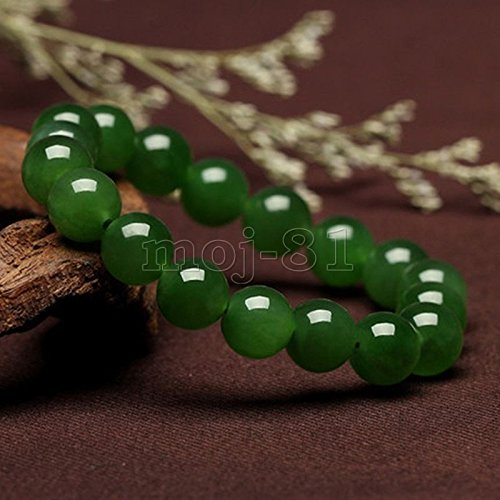10MM 100% Natural Green Nephrite Jade Round Gemstone Beads Bangle (Nephrite Jade Gemstone)