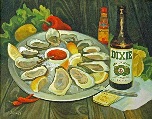 Oysters and Dixie Beer New Orleans Art Baltas Art Matted Art Print