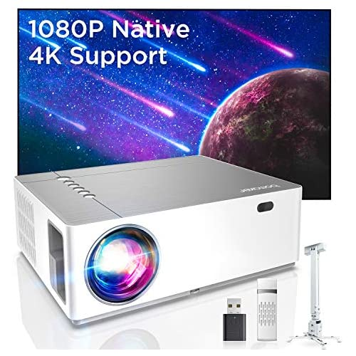chollos oferta descuentos barato Bomaker Full HD 1080P Nativo Proyector con 7200 Brillo Soporta 4K 6D Keystone 50 Zoom out Compatible with TV Stick Android iOS HDMI Parrot I