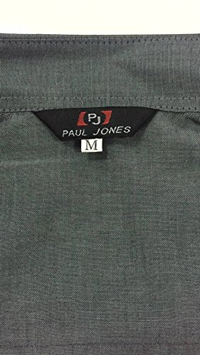 M PAUL JONES Mens Slim Fit Dress Shirts for Work Dark Grey Formal Shirts