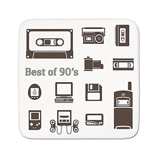 Cozy Seat Protector Pads Cushion Area Rug,90s,Gadget of 90s Icons Pattern With Desktop Computer Video Game Joystick Nostalgia Theme Print,Brown,Easy to Use on Any Surface